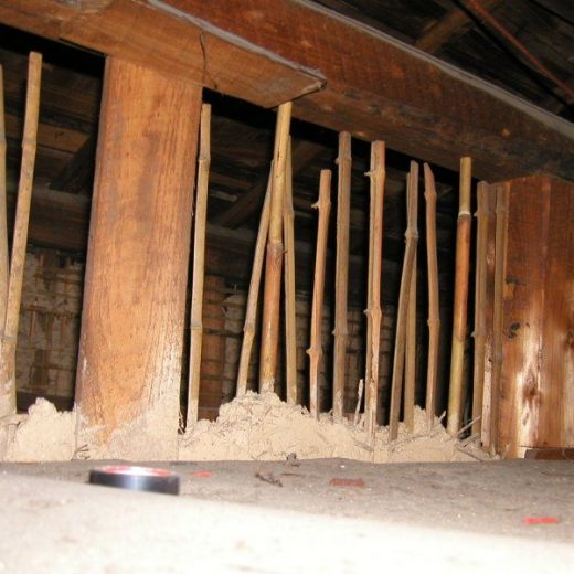 在来木造土壁の家 耐震調査 土壁が梁に達しない例