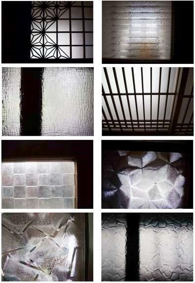 築50年中廊下式住宅の型板ガラスのいろいろ。使う箇所によってうまく選別された型板ガラス。