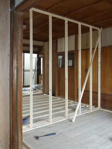 170822耐震改修 新しい間仕切りで和室を洋室に